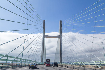 Crossing the  Prince of Wales Bridge between Wales and Engeland, United Kingdom, The longest cable stayed  bridge in the UK was opened in 1996.