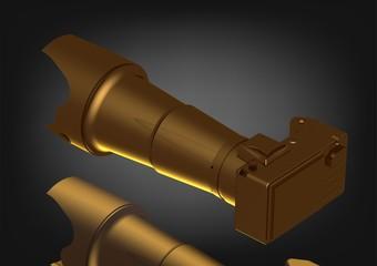 Golden camera on a black