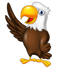 Cartoon eagle waving
