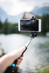 Beautiful photo on phone with selfie stick
