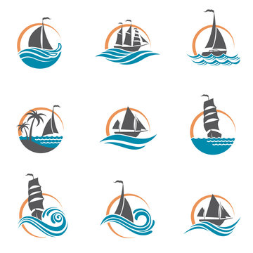 collection of sailboat and yacht icons on waves