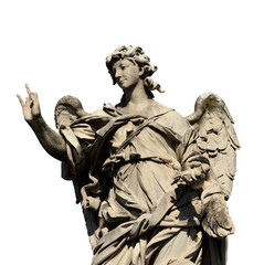 Angel statue holding the Nails of Jesus Cross on Sant'Angelo Bridge in Rome (isolated on white background)