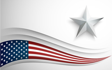 USA flag with star on white background. Banner with Copy Space.