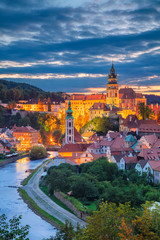 Autocollant pour porte Cracovie Cesky Krumlov. Aerial cityscape image of Cesky Krumlov, Czech Republic during summer sunset.