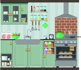 Bright and cozy kitchen in olive tones. Vector illustration, set.