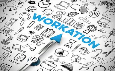 Workation Konzept mit Kompass und Schriftzug