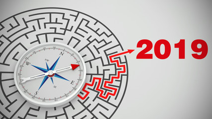 Silvester 2019 mit Labyrinth und Kompass konzept