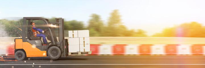 Transport und Liefer Konzept mit schnellem Gabelstapler