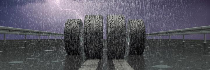 Reifen auf nasser Fahrbahn im Regen