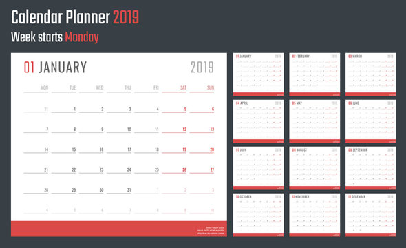2019 year calendar, calendar design for 2019 starts monday
