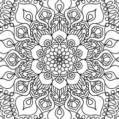 seamless pattern. Outline hand drawing. Good for coloring page for the adult coloring book. Stock vector illustration.Abstract vector decorative ethnic mandala black and white
