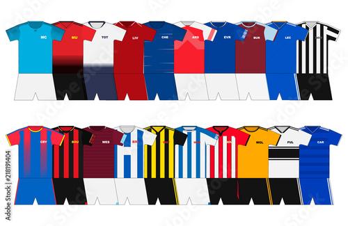 English Football kits set  2018-2019
