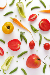 Fototapete -  Healthy food concept. Tomatoes, green peas, peppers, carrots  isolated, top view, flat lay.