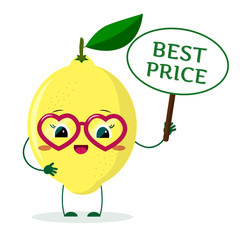Cute Lemon cartoon character in red heart glasses, in the hands of the plate is the best price.