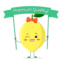 Cute lemon cartoon character with a yellow bow and earrings. Smiles and holds a premium quality poster.