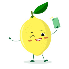 Cute lemon cartoon character with a smartphone and does selfie.