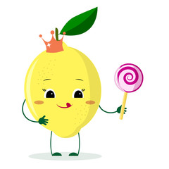 Cute lemon cartoon character with crown holds a lollipop.