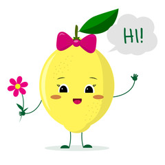 Cute lemon cartoon character with a pink bow holding a flower and welcomes.