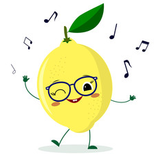 Cute lemon cartoon character in glasses dances to music.