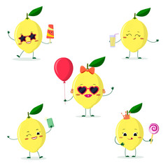 A set of five lemon character in different poses in a cartoon style.