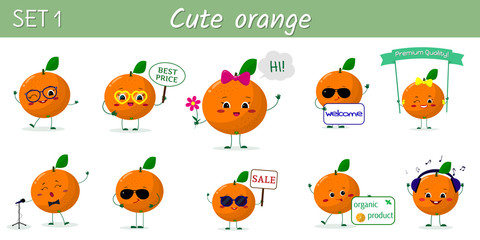 A set of ten cute orange characters in different poses and accessories in cartoon style.