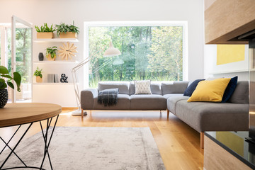 Grey corner couch with cushions in real photo of white living room interior with window, fresh plants, carpet and big lamp Papier Peint