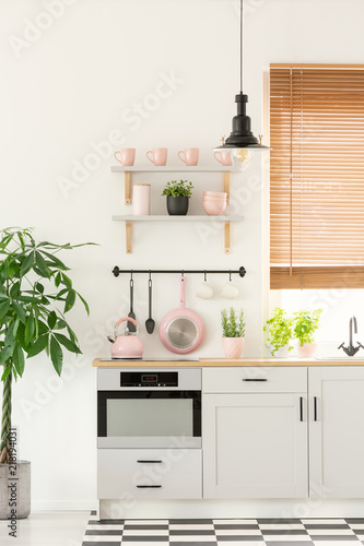 Pastel Pink Kettle Placed On Countertop In Real Photo Of White Kitchen Interior With Fresh Plants