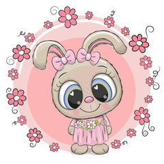 Cute Cartoon Rabbit with flowers