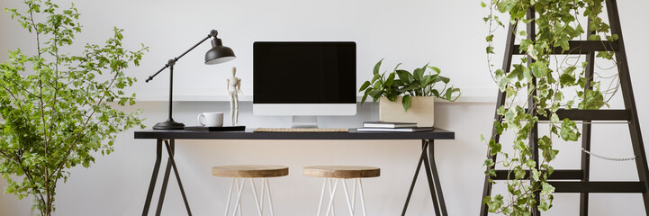 Real photo of two stools placed by home office desk with empty screen computer, lamp and coffee cup in bright room interior with fresh plants