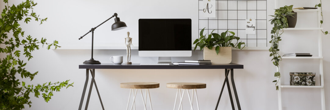 Black desk with lamp, tea cup, notebooks and mockup screen monitor in real photo of bright living room interior with fresh plants