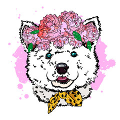 Puppy malamute in wreath of flowers.  Print with dog. Vector illustration.