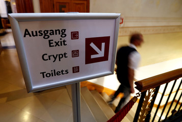 A sign to the entrance to the crypt of the Prussian emperors - the Hohenzollern house - is seen during a media tour to present the restoration plans of the area in the Berlin cathedral in Berlin