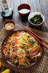 vegetable salad with wakame on a plate