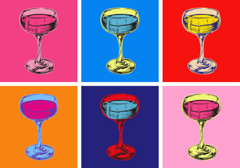 Tuinposter Pop Art Champagne Glass Hand Drawing Vector Illustration. Alcoholic Drink. Pop art style.