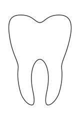 Line art black and white healthy tooth