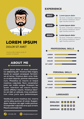 Resume and CV Template with nice minimalist design. Vector illustration