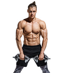Man workout with dumbbells. Photo of strong man with naked torso isolated on white background. Strength and motivation.