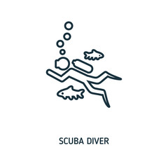 Scuba Diver creative icon. Simple element illustration. Scuba Diver concept symbol design from beach icon collection. Can be used for web, mobile and print. web design, apps, software, print.