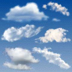 Vector illustration - set of realistic vector clouds  Isolated on transparent background. EPS 10