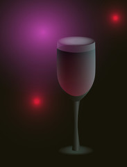 Glass with red wine on the abstract background