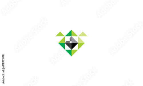 abstract geometry monster logo vector icon stock image and royalty