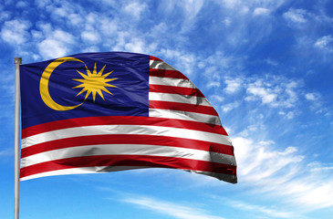 National flag of Malasia on a flagpole