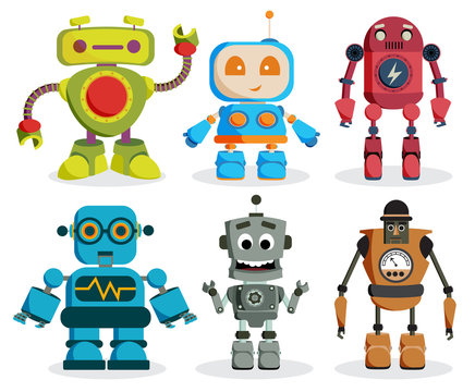 Robot toys vector characters set. Colorful kids robots elements with friendly faces isolated in white background. Vector illustration.