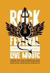 Vector poster or banner for Rock Festival of live music with an electric guitar, wings, fire, devil trident and place for text. Rock and roll is alive