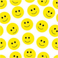 Smile Face Seamless Pattern. Vector Graphic Background.