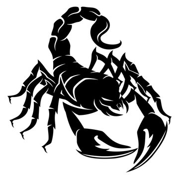 Sign of a black scorpion on a white background.