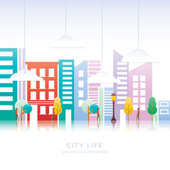 Vector illustration Colorful Building and life City