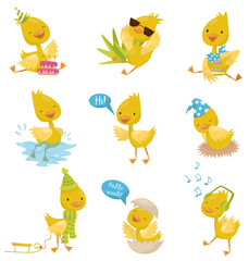 Cute funny little duckling character set, yellow chick duck in different situations vector Illustrations on a white background