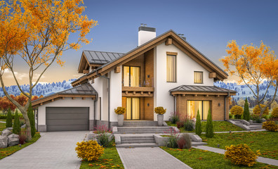 3d rendering of modern cozy house in chalet style with garage for sale or rent with large garden and lawn. Cool autumn evening with soft light from window