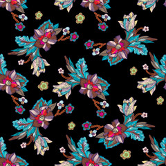 Embroidery seamless pattern with exotic flowers. Vector embroidered floral patch for clothing design.